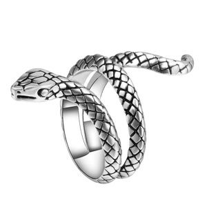 Snake Adjustable Silver Gothic Antique Wrap Ring